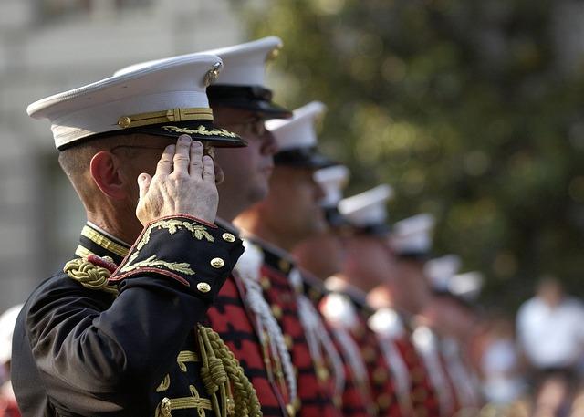 Military members salute