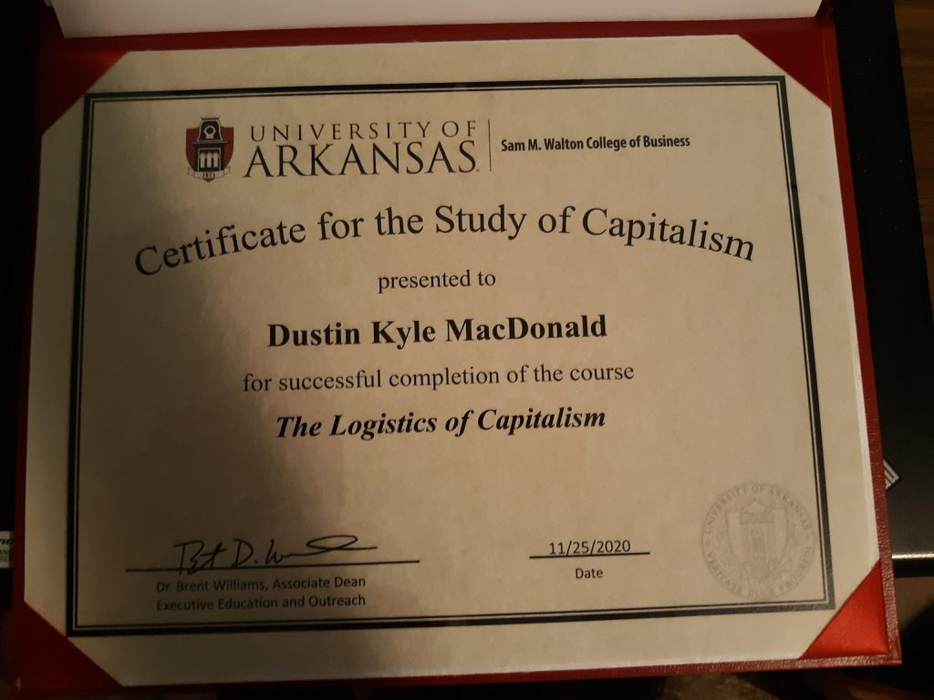 University of Arkansas certificate