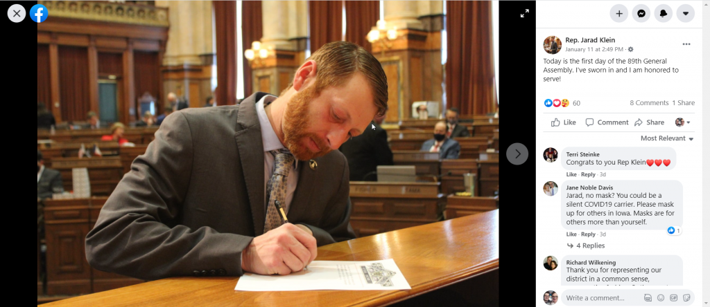 Jarad Klein swears into the Iowa House without a mask, in this photo uploaded to his Legislative Facebook dated January 11